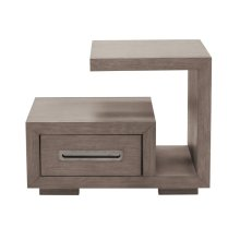 Modern 1 Drawer Cantilever Nightstand in Natural Taupe