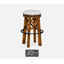 Country Style Walnut & Iron Bar Stool, Upholstered in COM