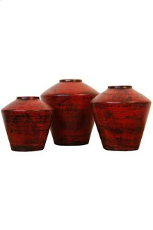 3PC Red Ovni Pottery