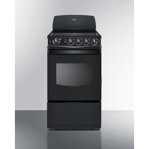 "Summit20"" Wide Smooth-top Electric Range In Black With Oven Window"