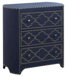 Jean Indigo Linen & Gold Nailhead 3 Drawer Chest