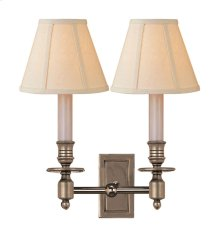 Visual Comfort S2212AN-L Studio French 2 Light 12 inch Antique Nickel Decorative Wall Light in Linen