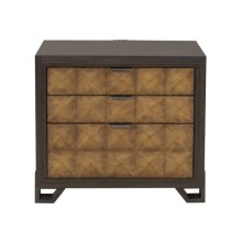 Hudson 3 Drawer Nightstand in Gold and Black