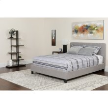 Chelsea King Size Upholstered Platform Bed in Light Gray Fabric