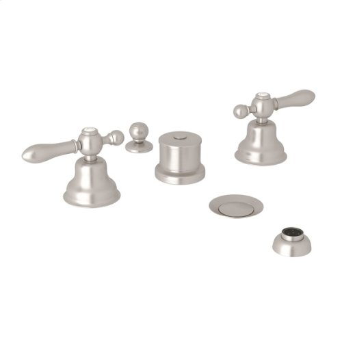 Satin Nickel Arcana Five Hole Bidet Faucet with Arcana Series Only Classic Metal Lever