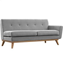 Engage Right-Arm Upholstered Fabric Loveseat in Expectation Gray