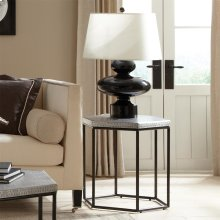 Lyric - Hexagon Side Table - Gun Metal Finish