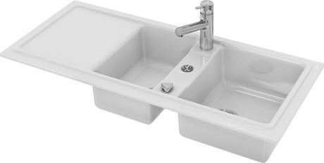 White Alpin Kitchen Sink Built In Version Cia 80 Hidden Duravit Logo