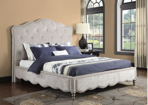 E/k 6/6 Upholstered Footboard W/crystal Trim & Rails