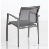 Penelope Stackable Aluminium Sling Dining Arm Chair