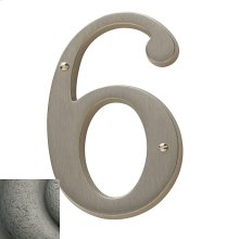 Distressed Antique Nickel House Number - 6