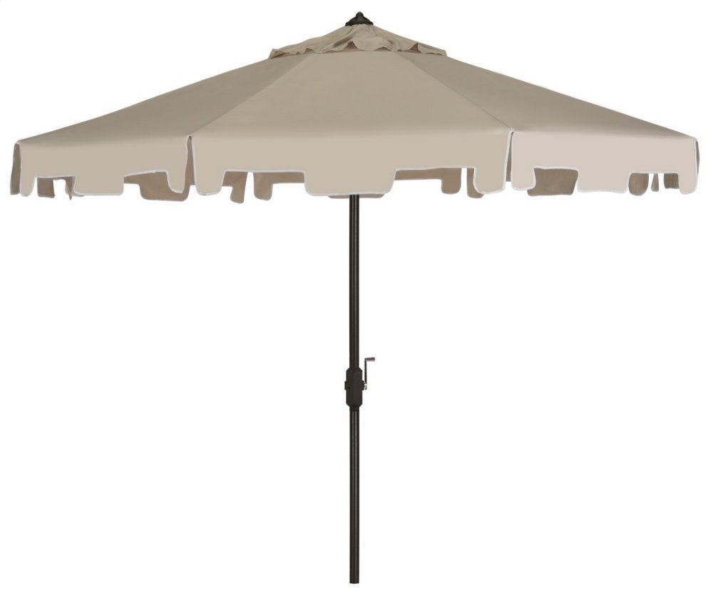 Zimmerman 9 Ft Crank Market Umbrella With Flap - Beige