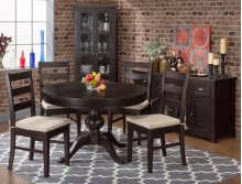 Prospect Creek Round To Oval Dining Table With Four Ladder Back Chairs (with Cushion)