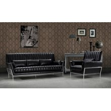 Divani Casa 0721 - Luxury Black Leather Sofa Set