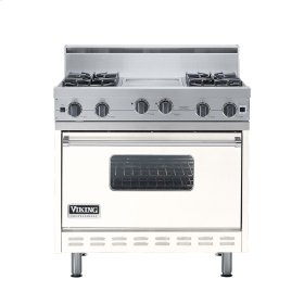 "Cotton White 36"" Open Burner Range - VGIC (36"" wide, four burners 12"" wide griddle/simmer plate)"