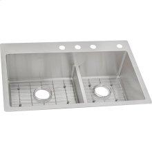 "Ferguson Exclusive Elkay Crosstown 33"" x 22"" x 9"" Stainless Steel Double Bowl Dual Mount Sink Kit w/ Aqua Divide"