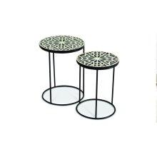"Amisha Round Nesting Tables L-16""x16""x21"" S-14""x14""x19"""