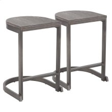 Industrial Demi Counter Stool - Set Of 2 - Antique Metal, Espresso Bamboo
