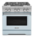 Limited Edition KitchenAid® 36'' 6-Burner Dual Fuel Freestanding Range, Commercial-Style - Misty Blue Product Image