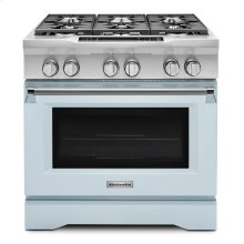Limited Edition KitchenAid® 36'' 6-Burner Dual Fuel Freestanding Range, Commercial-Style - Misty Blue