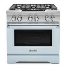 Limited Edition KitchenAid® 36'' 6-Burner Dual Fuel Freestanding Range, Commercial-Style - Misty Blue