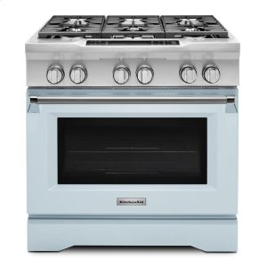KitchenaidLimited Edition KitchenAid® 36'' 6-Burner Dual Fuel Freestanding Range, Commercial-Style - Misty Blue