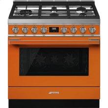 "Portofino Pro-Style Gas Range, Orange, 36"" x 25"""