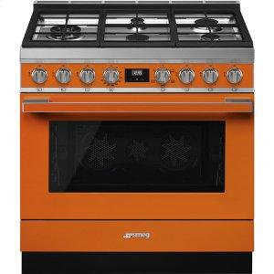 """SmegPortofino Pro-Style Gas Range, Orange, 36"""" x 25"""""""
