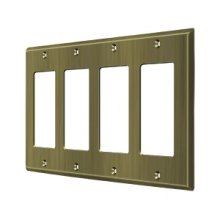 Switch Plate, Quadruple Rocker - Antique Brass