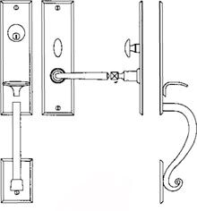 """Additional Entrance Handle Set - Complete single cylinder set for 1 3/4"""" door"""