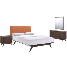 Tracy 4 Piece Queen Upholstered Fabric Wood Bedroom Set in Cappuccino Orange