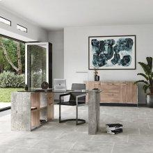 Nova Domus Boston Modern Brown Oak & Faux Concrete Office File Cabinet