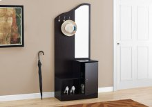 "HALL TREE - 75""H / CAPPUCCINO STORAGE UNIT / MIRROR"