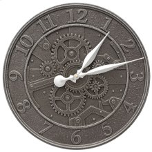 "Gear 16"" Indoor Outdoor Wall Clock - Aged Iron"