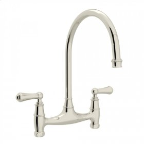 Polished Nickel Perrin & Rowe Georgian Era Bridge Kitchen Faucet with Metal Lever
