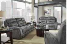 CLEARANCE!!! Double Recline Sofa w/ Power Headrest & Dropdown Table - ALMOND COLOR