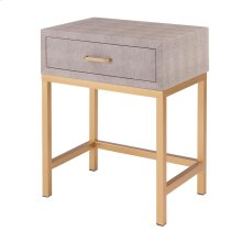 Durham Faux Shagreen End Table 1 Drawer, Chronicle Gray