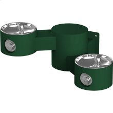 Elkay Outdoor Drinking Fountain Wall Mount, Bi-Level, Non-Filtered Non-Refrigerated, Evergreen