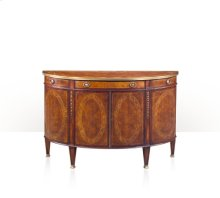 A finely inlaid bowfront side cabinet