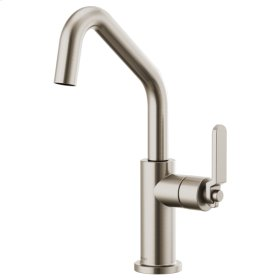 Bar Faucet With Angled Spout and Industrial Handle