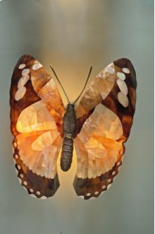 Inlaid Yellow and White Mother of Pearl, Penshell and Brass Butterfly Wall Lamp