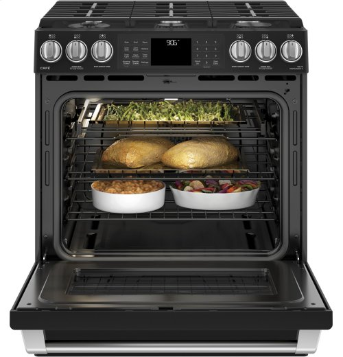 """GE Café Series 30"""" Slide-In Front Control Range with Warming Drawer"""