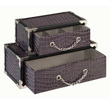 LANGDON SILVER CROC STACKED JEWELRY BOX (sold 4 in a case pack)