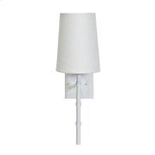 """White Sconce With Bamboo Detail & White Linen Shade -ul Approved for One 40w Candelabra Bulb -back Plate Dimensions: 4.5""""H X 4.5""""W Sconce Shades Also Available for Purchase: Navy: Ls-scnvy Pink: Ls-scpi Black: Ls-scbl"""