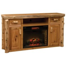 Entertainment Center with Fireplace - Natural Cedar