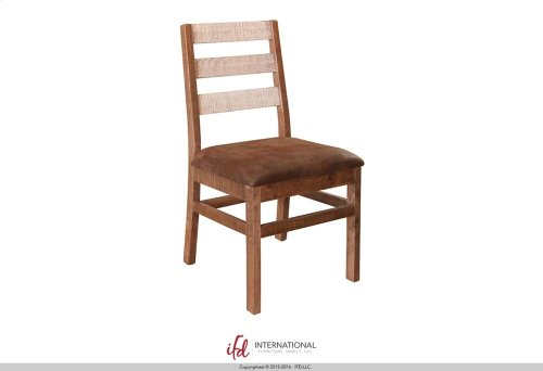 Chair w/Ladder Back, with microfiber seat- Solid Wood** - White and brown finish