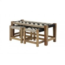 Couch S/3 max 99x40x43 cm PHEDA black-white-wood natural