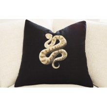 Hand Painted Pillow - Sand Viper on Black Linen