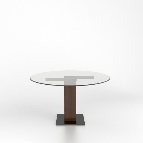 Rectangular glass table with pedestal