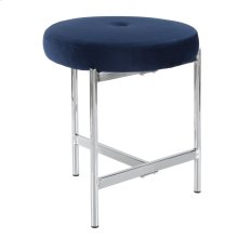 Chloe Vanity Stool - Chrome, Blue Velvet